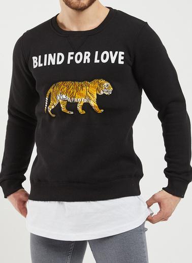 XHAN Siyah & Beyaz Nakışlı Baskılı Sweatshirt 1Kxe8-44361-02 Siyah